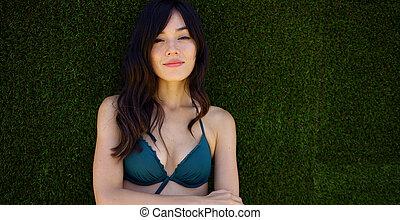 topo verde, biquíni, mulher, bonito, desgastar