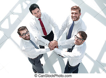 topo, vista., equipe negócio, pôr, seu, mãos