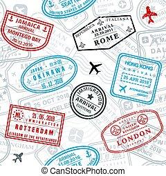 topog, útlevél, seamless