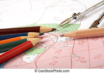 topografisch, district, meetinstrument, kaart