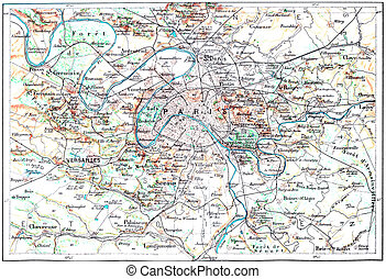 Topographical Map of Paris, France, vintage engraving