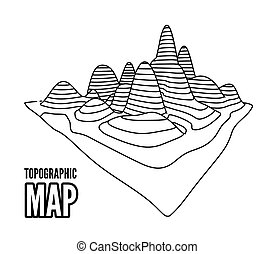 Topographical map of the locality, illustration with lines