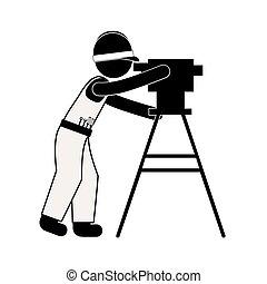 topographie, silhouette, équipement, arpenteur, terre, noir