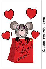 topolino di san valentino - topolino grigio in shopper...