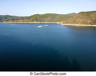 Aerial view of Topolnitsa Reservoir, Sredna Gora Mountain, Bulgaria