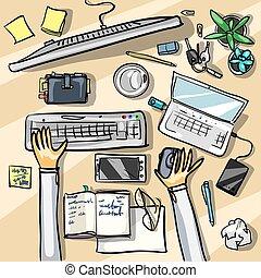 topp, -, bakgrund, kontor, synhåll
