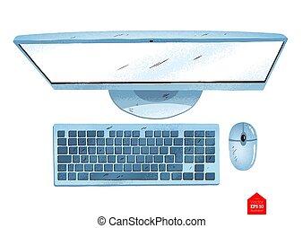 topp, dator, synhåll, illustration, skrivbord