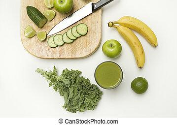 topp se, av, a, hälsosam, smoothie, gjord, med, frukt och veg