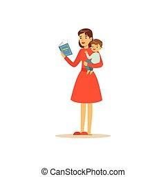 toppen, tecken, bok, mamma, läsning, barn