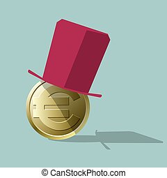 Topper on the euro coin. Isolated on blue background.