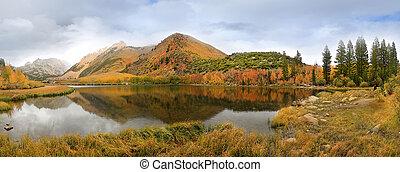 Toppig bergskedja,  Mountains, färger, Kalifornien, falla