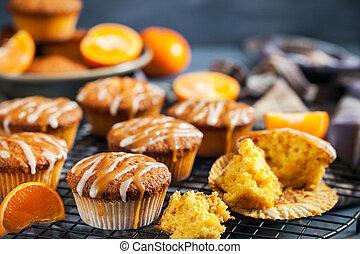 topping, cupcakes, vidriado, mandarina, zanahoria, caramelo