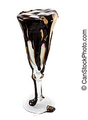 topping, helado, cantidades, chocolate, vidrio, masivo, vino
