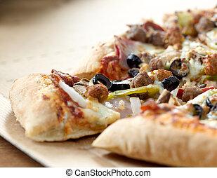 toppings, supremo, closeup, pizza