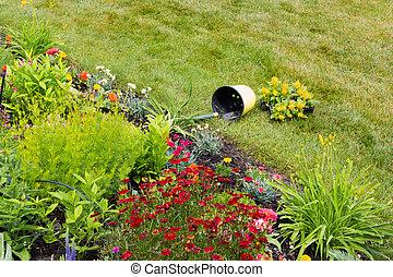 Toppled bucket in a garden