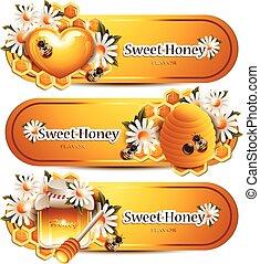toppmodern, honung, baner