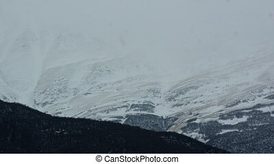 Tops of Caucasus Mountains Covered with Snow