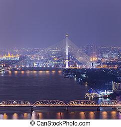 topview., bangkok, contorno, thailand., cityscape, crepúsculo