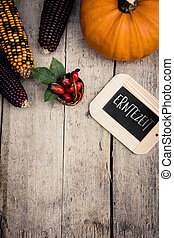 autumn fruits and blackboard