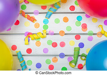Topview of Party Background with Confetti Streamers and Balloons