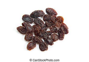 Topview of raisins isolated on white background