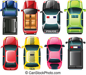 Topview of the different type of vehicles - Illustration of...