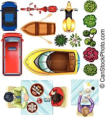 """""""Topview of vehicles, plants and people at the table"""" -..."""