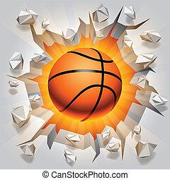 toqué, boule basket-ball, wall.