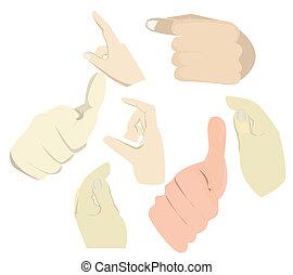 toque, ação, 043, mão