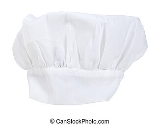 White chef Toque Blanche hat that is gathered at the base of the headband - path included