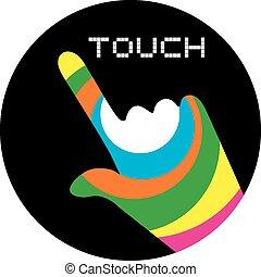 toque, botão, arte