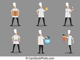 toque, carattere, illustrazione, uniforme, chef, vettore, bianco