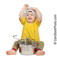 toque, encima, aislado, bebé, cocinero, blanco, pan.