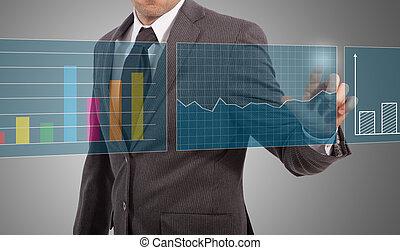 toque, homem negócios, gráficos