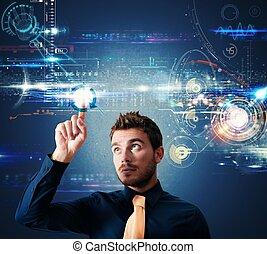 toque, interface, tela, futurista