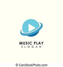 toque música, símbolo, planeta, jogador, desenho, logotipo, template., ícone