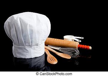 toque, mit, kochen gebrauchsgegenstanden