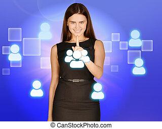 toques, gente, personal, opción, symbolizing, niña, icono