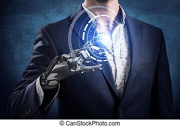 toques, rendering., robô, virtual, mão, homem negócios, icon., 3d