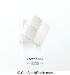 torção, 3d, branca, cor, cubo