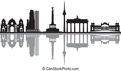 tor, brandenburger, skyline, berlin, reichstag