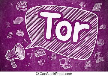 Tor - Cartoon Illustration on Purple Chalkboard.