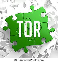 tor, grün, puzzle.
