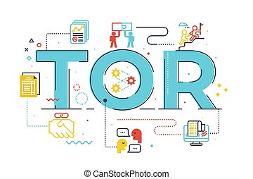 TOR (Term of Reference) word lettering illustration with ...