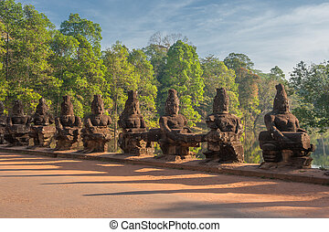 tor, wächter, angkor, cambodscha