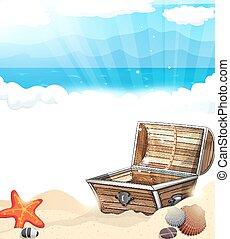 torace, tesoro, sabbia