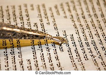 Torah and Yad - Reading a Torah scroll during a bar mitzvah...