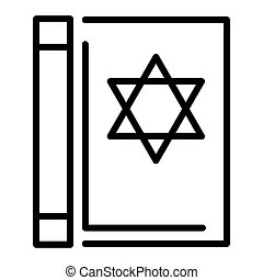 Torah book icon, outline style