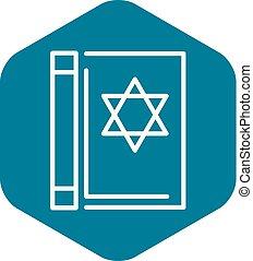 Torah book icon, outline style - Torah book icon. Outline...