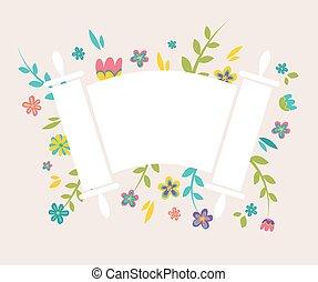 torah, circundante, flores frescas, judío, vendimia